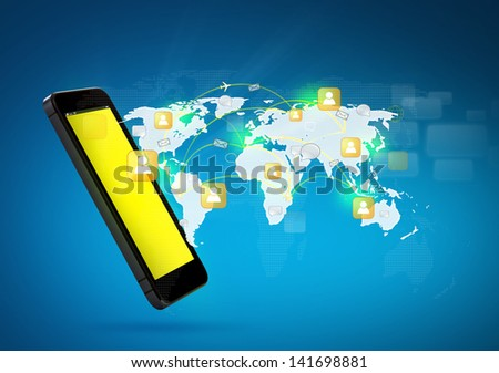 Modern communication technology mobile phone show the social network