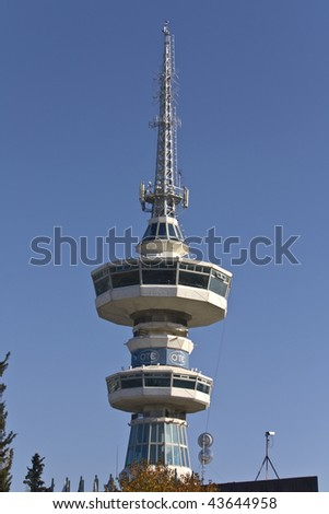 Modern communication tower located at Thessaloniki city in Greece - stock photo