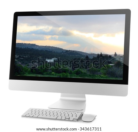 Modern computer isolated on white - stock photo
