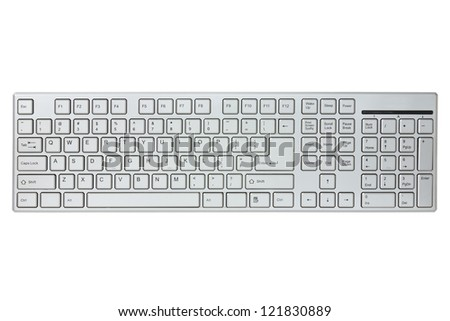 Modern computer keyboard isolated on a white background - stock photo