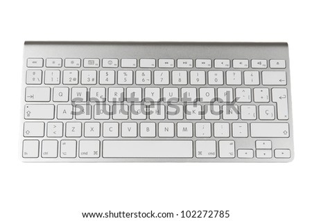 Modern computer keyboard on white background - stock photo