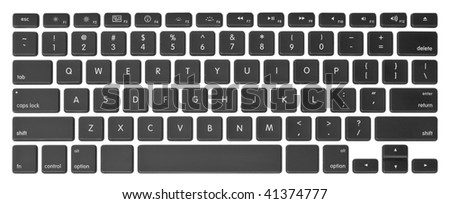 Modern computer keyboard with qwerty close-up - stock photo
