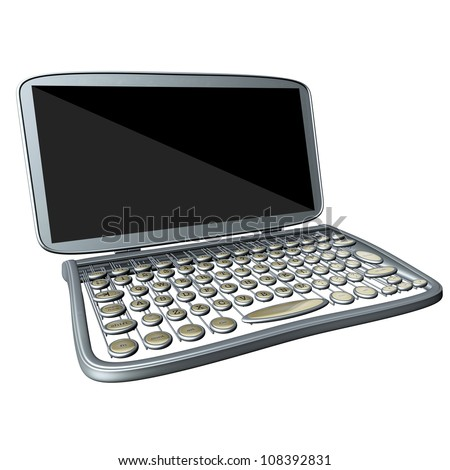 modern computer laptop with old style typewriter keyboard isolated on white background