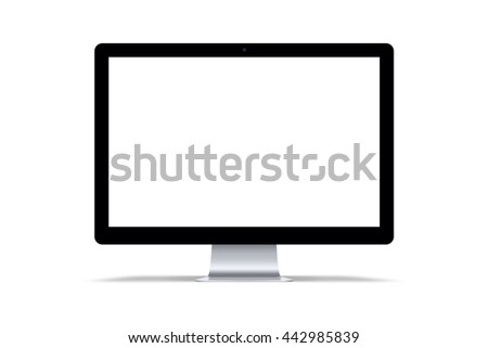 Modern computer monitor isolated in white background.