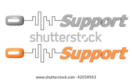 modern computer mouse connected to the word Support via digital waveform cable - mouse and word both in grey and orange - stock photo