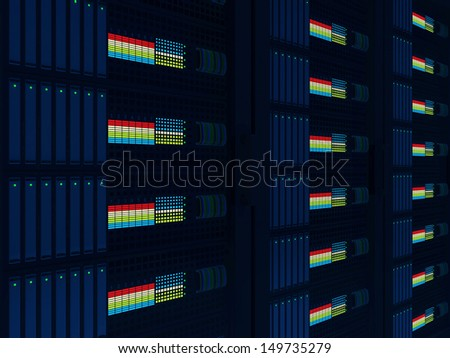 Modern Computer Servers Close up background - stock photo