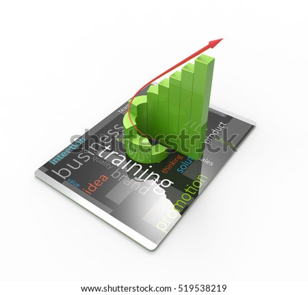 Modern computer tablet, rising trend of development concept 3D Illustration