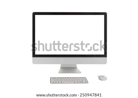 modern computer with blank white screen, keyboard and mouse isolated on white background - stock photo