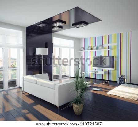 Modern Concept Of Living Room Design Illustration