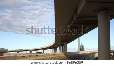 Modern concrete elevated road way or overpass system on columns