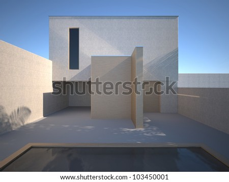 Modern concrete house with a swimming pool, 3D rendering, clear sky.