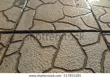 Modern concrete paving tiles with streaks of water in the garden