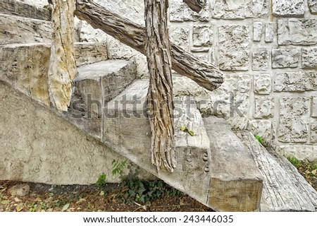 Modern Concrete Staircase with Wood Imitation Design - stock photo