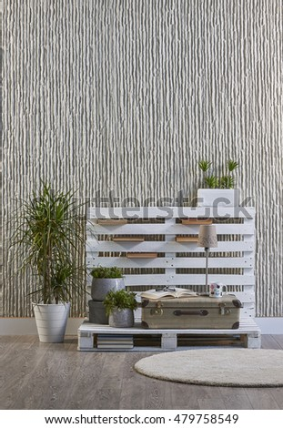 Modern concrete wall carpeting and elegant decor for office and home