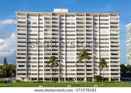 White Condo Building Many Balconies Tropics Stock Photo