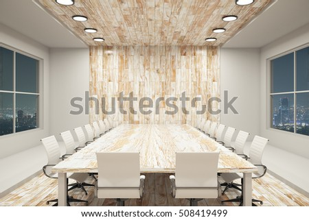 Modern conference interior with blank wooden wall, equipment and night city view. Mock up, 3D Rendering