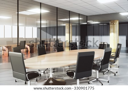 Modern conference room in a sunny office 3D Render - stock photo