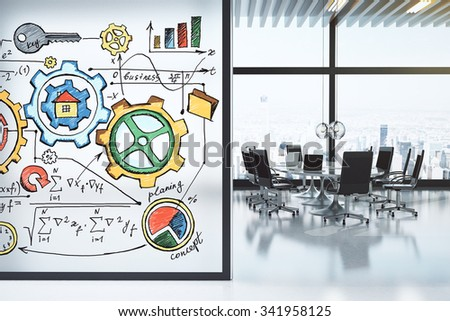 Modern conference room with furniture and business scheme concept on the wall 3D Render - stock photo
