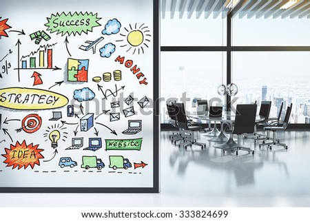 Modern conference room with furniture and business strategy concept on the wall 3D Render - stock photo