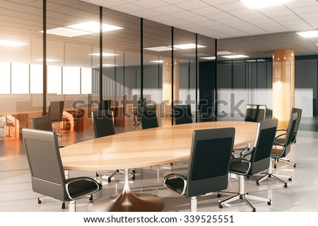 Modern conference room with furniture 3D Render - stock photo