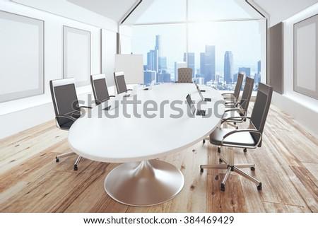 Modern conference room with oval table, wooden floor and city view, - stock photo
