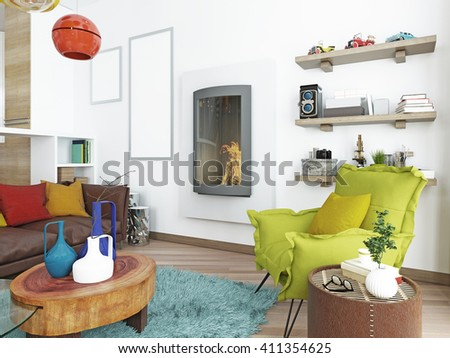 Modern Contemporary light green chair in living room. Armchair near the fireplace with floor lamp and a coffee table. 3D render.