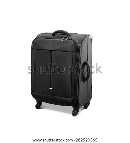 Modern convenience suitcase on casters - stock photo