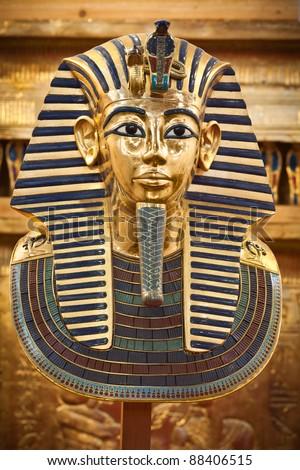 Modern copy of Tutankhamen's funerary mask - stock photo