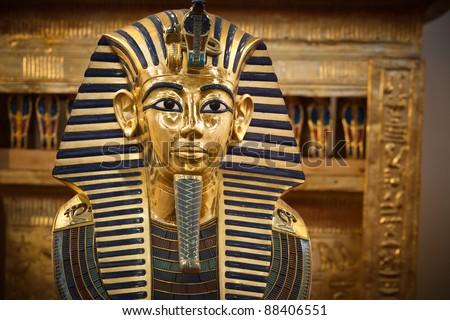 Modern copy of Tutankhamen's funerary mask. - stock photo