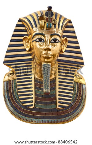 Modern copy of Tutankhamen's mask isolated with clipping path - stock photo