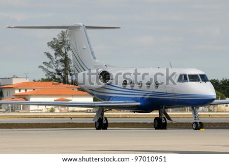 Modern corporate jet airplane for executive travel