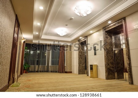 Modern corridor interior image - stock photo
