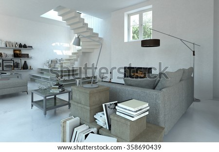 Modern cosy living room interior in grey toned decor with steps leading up to a window or door and sofa surrounded by books on cabinets and tables. 3d Rendering. - stock photo