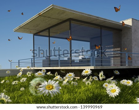 Modern cottage on the green grass. - stock photo