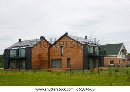modern cottages - stock photo