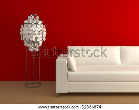 Modern couch and lamp near the red wall. - stock photo