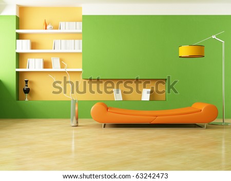 modern couch in a green living room - rendering - stock photo