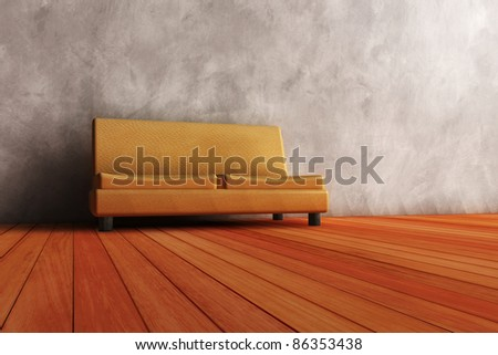 modern couch in wooden interior. - stock photo