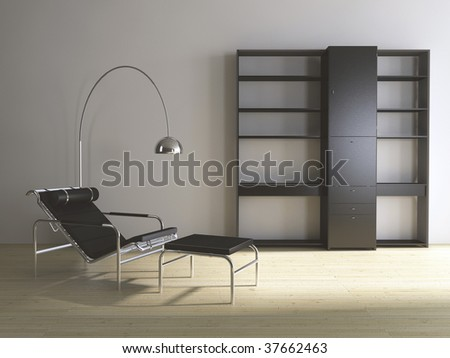 Modern couch with floor lamp and rack - hardwood parquet - front view - stock photo