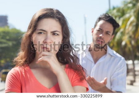 Modern couple with relationship problems in the city - stock photo