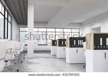 Modern coworking office interior with workplaces, cabinets with document folders, concrete floor, ceiling, column and panoramic window with Singapore city view. 3D Rendering