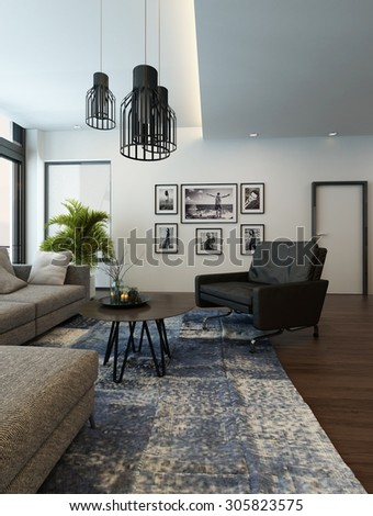 Modern cozy living room interior with gray couch or sofa and carpet on a wooden parquet floor. 3d Rendering. - stock photo