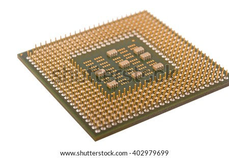 Modern CPU isolated on white background