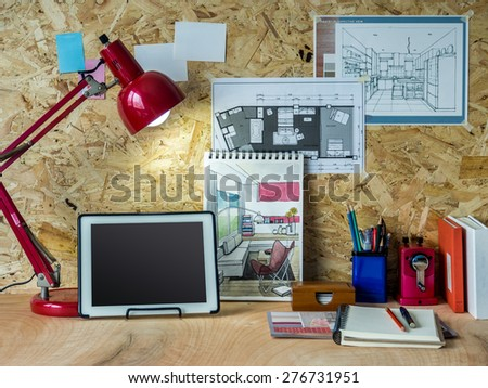 Modern creative workspace tablet interior design stock photo royalty free 276731951 shutterstock for Best tablet for interior designers