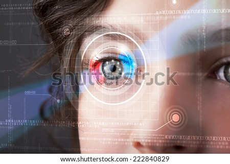 Modern cyber woman with technolgy eye looking - stock photo