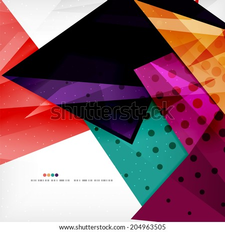 Modern 3d glossy overlapping triangles in different colors with texture and light effects. Business brochure background design with copyspace