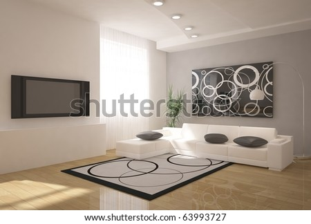 modern 3d interior - stock photo
