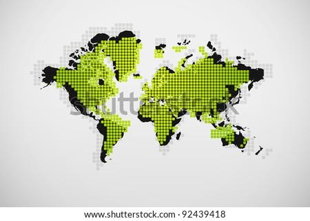 Modern 3D tiles world map - stock photo