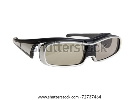 Modern 3D viewing glasses isolated on white - stock photo