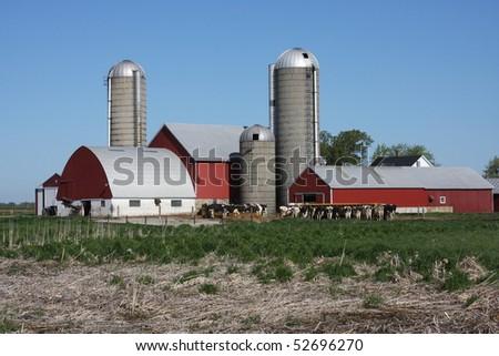 modern dairy farm in Wisconsin - stock photo